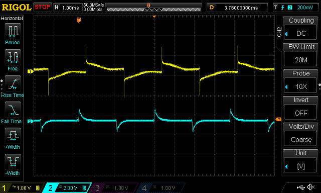 265Hz tone, Electron (yellow), FPGA (cyan) with hpf