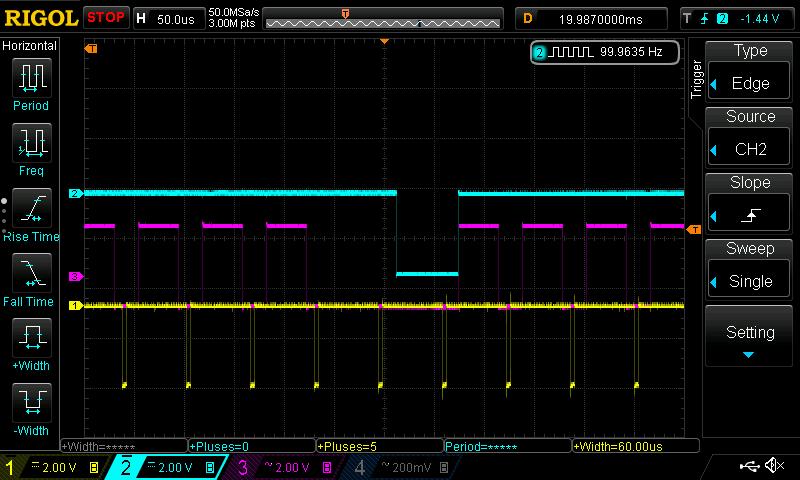 FPGA Core RTC Field 1 (yellow hysnc, pink active line, cyan RTC)