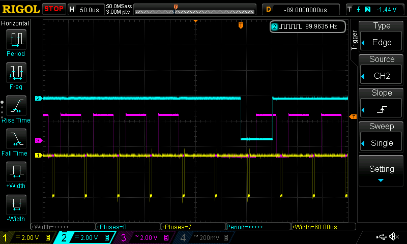 FPGA Core RTC Field 2 (yellow hysnc, pink active line, cyan RTC)