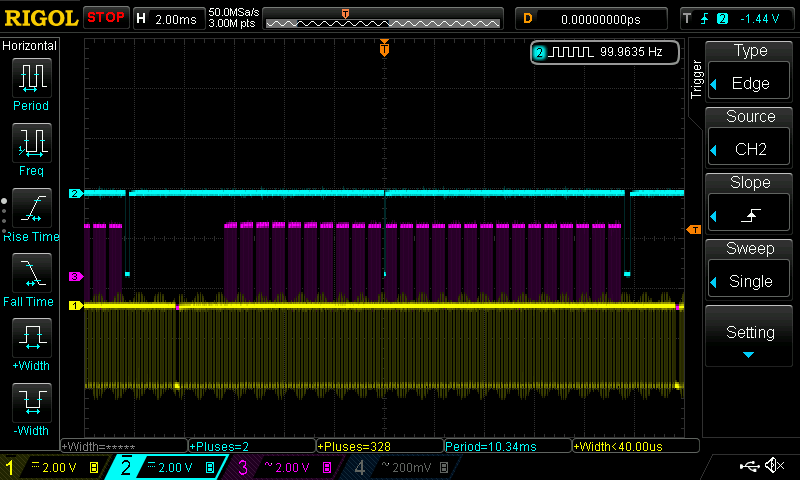 FPGA Core Mode 6 (yellow hysnc, pink active line, cyan interrupts)